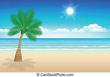 木。, ココナッツ, 海, 砂, 背景
