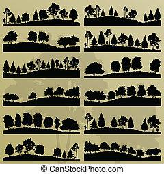 木, コレクション, シルエット, イラスト, 背景, 森林