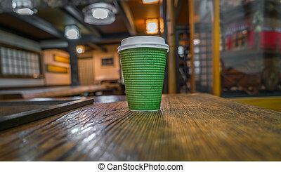 木, コーヒー, ペーパー, 背景, カップ