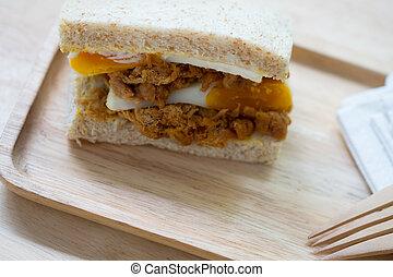 木, サンドイッチ, トレー