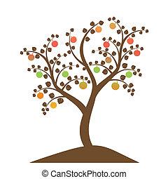 木, シルエット, アップル