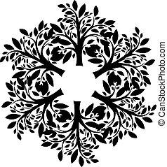 木, シルエット, パターン