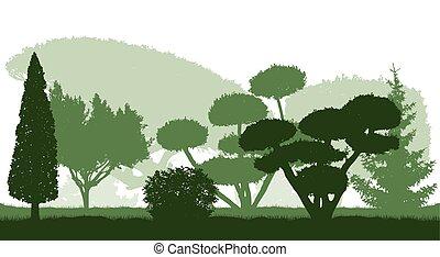 木, シルエット, ベクトル, 植物, illustration., 装飾用, 美しい, garden.