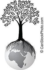 木, シルエット, 上に, 地球