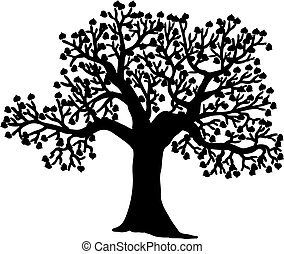 木, シルエット, 形づくられた