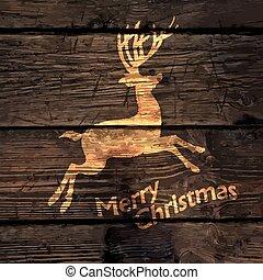 木, シルエット, 金, 鹿, 挨拶, 手ざわり, バックグラウンド。, ベクトル, イラスト, クリスマスカード, 照ること
