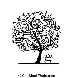 木, スケッチの 本, デザイン, あなたの