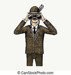 木, スケッチ, 切口, 古い, illustration., ハンター, 型, ∥あるいは∥, ornitologist, 手, 見る, 科学者, によって, 衣装, 双眼鏡, 引かれる, 刻まれる, style., spyglass, 人
