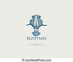 木, スケッチ, 古代, 古い, エジプト人, pharaon, ∥あるいは∥, osiris, 型, 手, 見る, 切口, 文明, レトロ, 引かれる, ロゴ, 刻まれる, シンボル, スタイル
