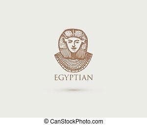 木, スケッチ, 古代, 古い, エジプト人, pharaon, シンボル, 型, 手, 見る, 切口, 文明, ロゴ, 引かれる, スタイル, 刻まれる, ∥あるいは∥, レトロ