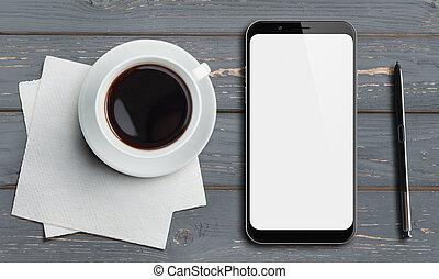 木, スタイラス, 光景, 古い, 上, コーヒーテーブル, smartphone