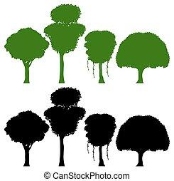 木, セット, シルエット