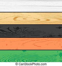 木, セット, 板, 背景, 松