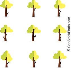 木, セット, 緑, イラスト