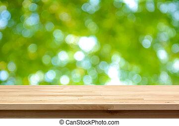 木, テーブルの 上, 上に, 緑, 自然, bokeh, 抽象的, 背景