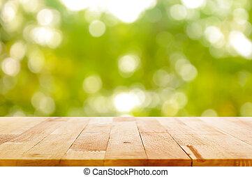 木, テーブルの 上, 上に, 自然, 緑, bokeh, 抽象的, 背景