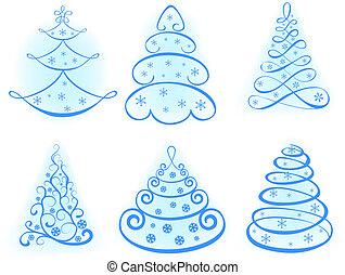 木。, デザインを設定しなさい, クリスマス, 要素