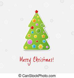 木, デザイン, クリスマス, カード