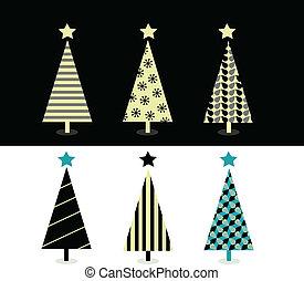 &, 木, デザイン, 黒, 白い クリスマス