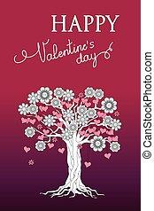 木, バレンタイン, すみれ, 心, 花, カード