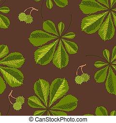 木, パターン, seamless, とげ, クリ, ベリー, 葉