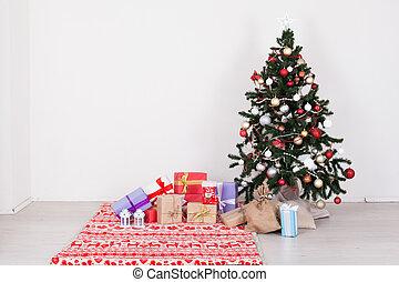 木, プレゼント, 背景, 年, 新しい, 白い クリスマス