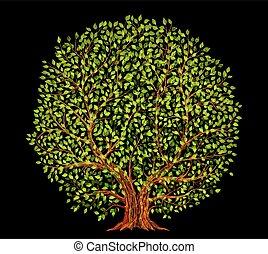 木, ベクトル, イラスト, 古い, 背景, 黒