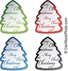 木, ベクトル, ステッカー, クリスマス