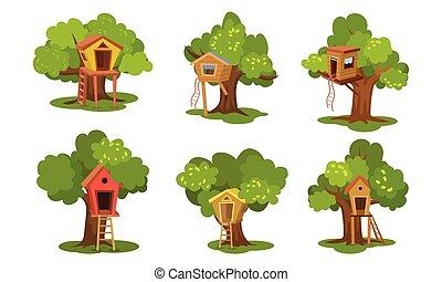 木, ベクトル, セット, 別, illustration., houses.