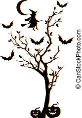 木, ベクトル, ハロウィーン, 背景
