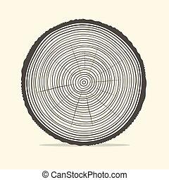 木, ベクトル, リング, イラスト