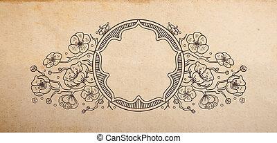 木, ベクトル, 古い, 伝統的である, スペース, 花, 型の vignette, 装飾, 日本語, 手ざわり, 手...