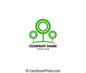 木, ベクトル, 緑, テンプレート, ロゴ, デザイン, 円