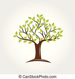 木, ベクトル, 緑, leafs, ロゴ, アイコン