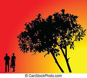 木, ベクトル, -, 背景