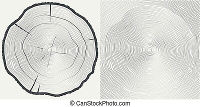 木, ベクトル, 背景, トランク, tree-rings, sawcut
