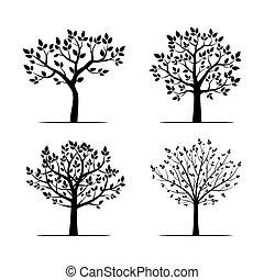 木。, ベクトル, 黒, illustration., コレクション