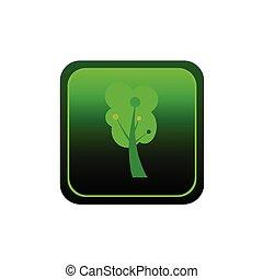 木, ボタン, ベクトル, 緑