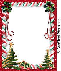 木, ボーダー, クリスマス, キャンデー