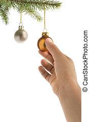 木, ボール, クリスマス, 手