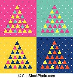 木, ポップアート, クリスマス, 三角形