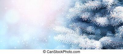 木, モミ, ブランチ, 横, クリスマス, 背景