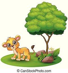 木, ライオン, 背景, 下に, 白, 漫画