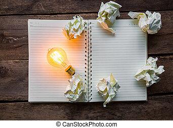 木, ライト, ノート, テーブル, 電球