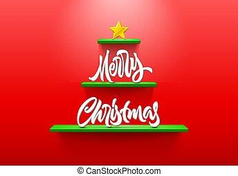 木, レタリング, クリスマス, 棚, カード, 形づくられた