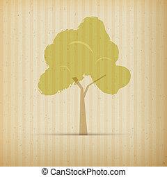 木, 上に, リサイクルされる, ペーパー, 背景
