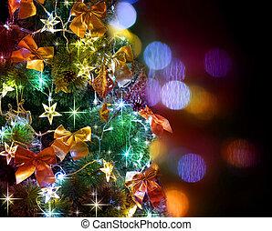 木, 上に, 黒, クリスマス, decorated.