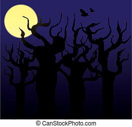 木, 中に, ∥, 夜, -, ベクトル, イメージ