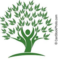 木, 人々, 緑, 自然, アイコン, ロゴ