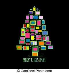 木, 写真, クリスマス, あなたの, デザイン, 作られた, グリーティングカード, フレーム